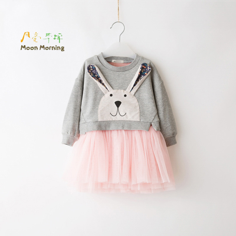 Moon Morning Girls Shirts Cotton 3D Long Sleeve Tops Character Knitted 3T~10T Dresses Juicy Bunny Flower Patchwork Girls Shirts