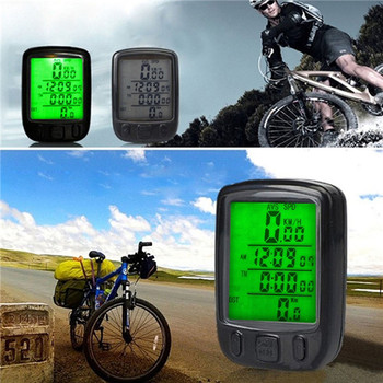 Waterproof LCD Display Cycling Bike Bicycle Computer Odometer Speedometer with Green Backlight free shipping
