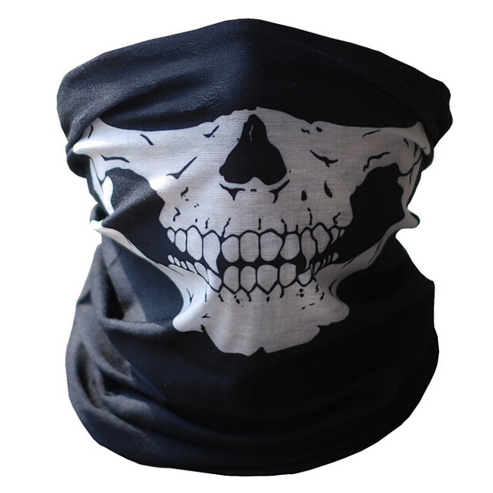 New Halloween Skull Skeleton Outdoor Motorcycle Bicycle Multi function Headwear Hat Scarf Half Face Mask Cap