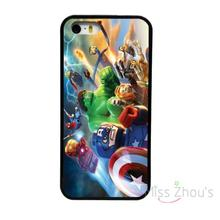 For iphone 4/4s 5/5s 5c SE 6/6s plus ipod touch 4/5/6 back skins mobile cellphone cases cover NEW MARVEL LEGOS SUPERHEROES BLACK