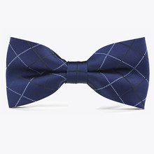 Tuxedo Bow Tie Cravats Men's Tartan dark blue Butterfly Knot Wedding Party Anniversary Business Meeting Formal Suit Navy Blue