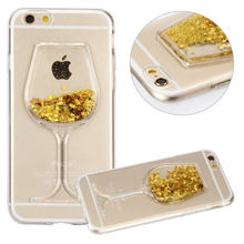 New Red Wine Cup hourglass Wedding Dress Liquid Glitter Star Sand Soft TPU Case Cover For Apple iPhone 6 6s 6Plus Phone Cases(China (Mainland))