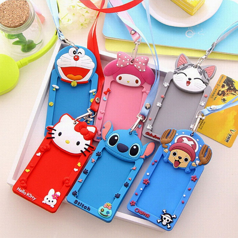 1 Piece Portable Cute Cartoon Silicone Lanyard Metro ID Bus Card Case Holder For Children<br><br>Aliexpress