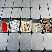 18 pcs/Lot Silver Tin storage box Stationery holders Metal organizer for clips card eraser Zakka Office school supplies 8736(China (Mainland))