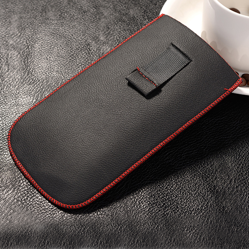 New Red border Top grade Universal Holster skin Waist Leather Pouch Cover Case For Newsmy Newman K1(China (Mainland))