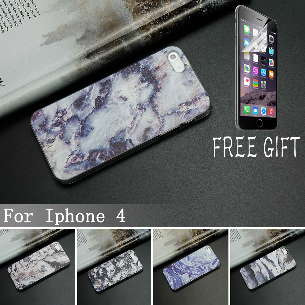 TPU Phone Cases For Iphone 4 4s Case Marble Stone Image Painted Cover Mobile Soft TPU Case & Brand New Screen Protector(China (Mainland))