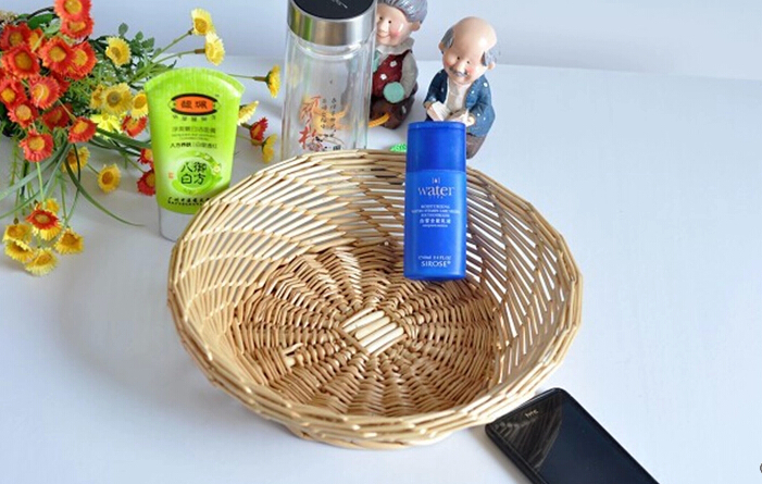2015 Real Rushed Wicker Cooling Eco-friendly Stocked Straw Basket Straw Braid Oval Rattan Willow Bread Basket Candy Tray(China (Mainland))
