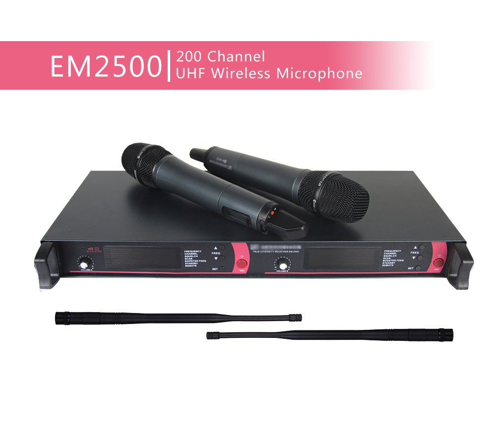 Ship by DHL FEDEX EMS !!! High quality EM2500 SKM2000 Wireless Microphone System for Stage Karaoke 2 performances(China (Mainland))