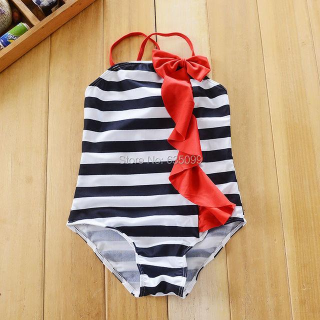 2 - 7 т большие девушки купальник дети полосатый соединяет с оборками гир синий белый ...