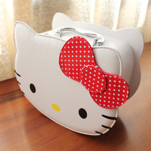 Hello Kitty Handbags  bowknot sweety cute girls  bags Locking  cosmetic case portable oddments tray carrying box containing box