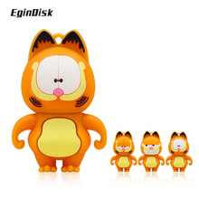 Buy Cute cartoon Garfield cat animal usb flash drive 32GB 64GB Fun pen drive 4GB 8GB 16GB Gift Pendrive flash memory disk Key for $2.40 in AliExpress store