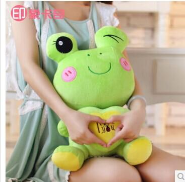 "stuffed animal plush 55cm"" i love you "" frog plush toy light green frog toy doll w2187(China (Mainland))"