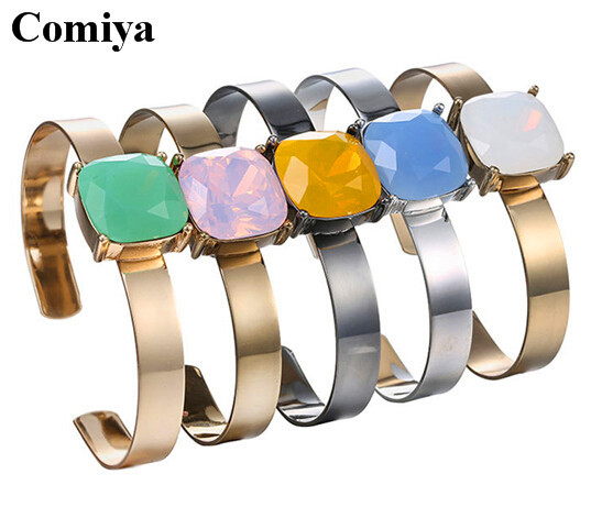 Fashion designed candy colours cuff opening bangles acrylic crystal mosaic bangle for women gold plated accessories wholesale(China (Mainland))