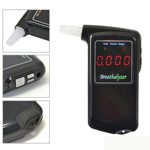 Breathalyzer high accuracy Prefessional Police Digital Breath Alcohol Tester Breathalyzer AT858 with 5 mouthpieces LED(China (Mainland))