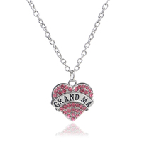 Multicolor More Styles Crystal Handmade Grandma Teacher Nurse Faith Heart Shape Statement Necklaces Pendants With Suspension