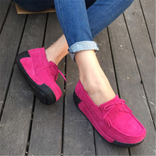 016 Spring women wedges shoes platform shoes hand-sewn leather suede casual shoes slip on flats tassels creepers