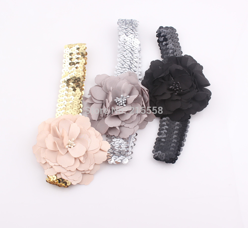 Sparkle Stretch Sequin Headband Sequins Flower Headband Bling Glitter Paillette Bandage Hair Band ZH97(China (Mainland))