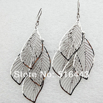 Big Promotion 6Pairs Fashion Silver P Hollow Charms Women Double Leaves Drop Earrings Wholesale Jewelry Lots A-753