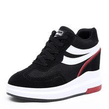 EOFK Phụ Nữ Sneakers Giản Dị của Phụ Nữ Khởi Động Mùa Xuân Mùa Thu Mắt Cá Chân Khởi Động Chiều Cao Tăng Cao Top Chắp Vá Giày Giày Phụ N(China)