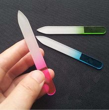 2 Pc/Lot Random Color!! New Durable Crystal Glass Nail Art Buffer Files Pro File Manicure Device Tool(China (Mainland))