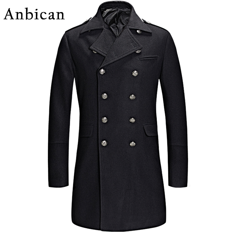 Anbican 2016 Winter Black Wool Coat Men Luxury Brand Double Breasted Long Cashmere Overcoat Mens Slim Fashion Pea Coat XXL XXXL(China (Mainland))