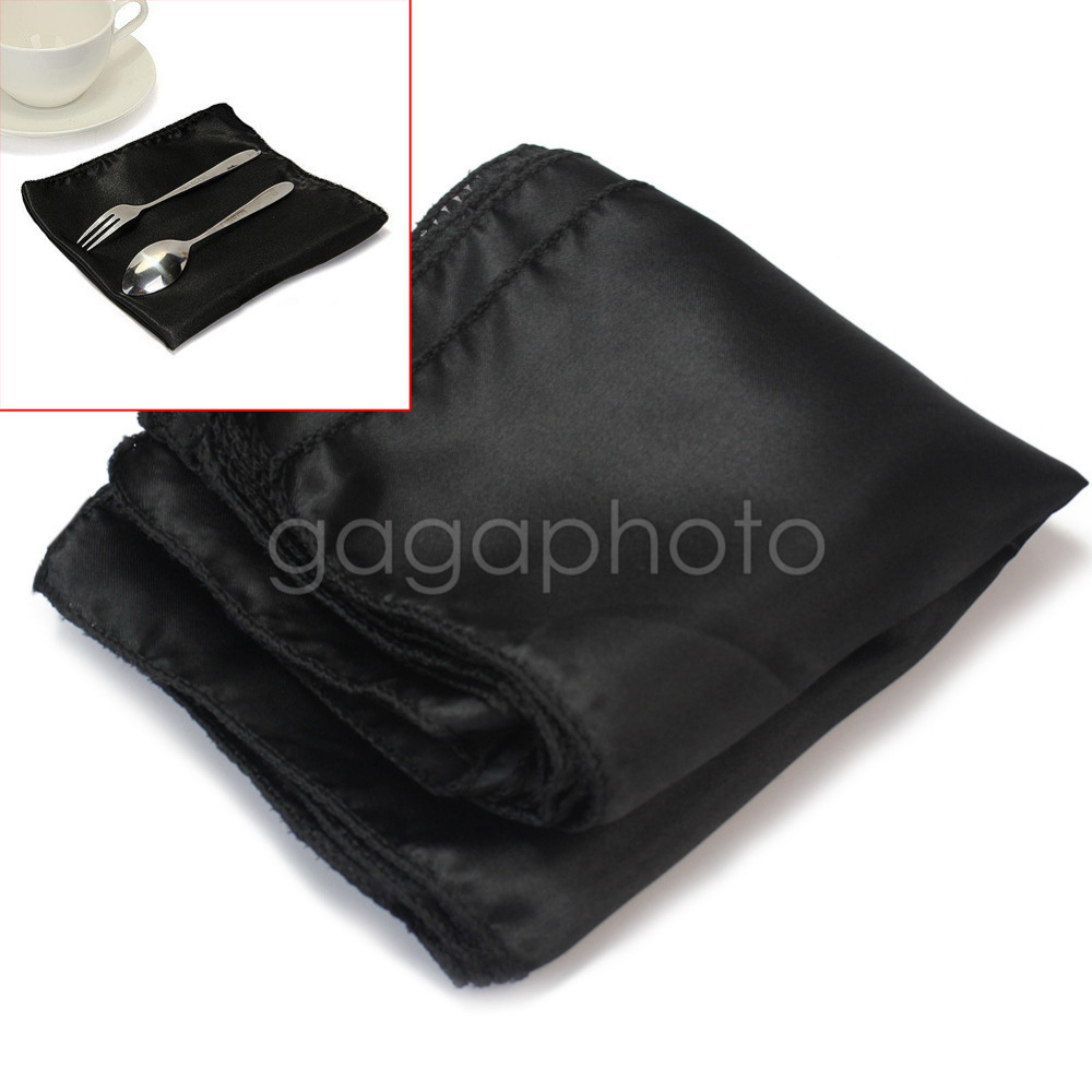 10Pcs Wedding Party Tableware Home Dinner Table Polyester Cloth Napkins Black(China (Mainland))