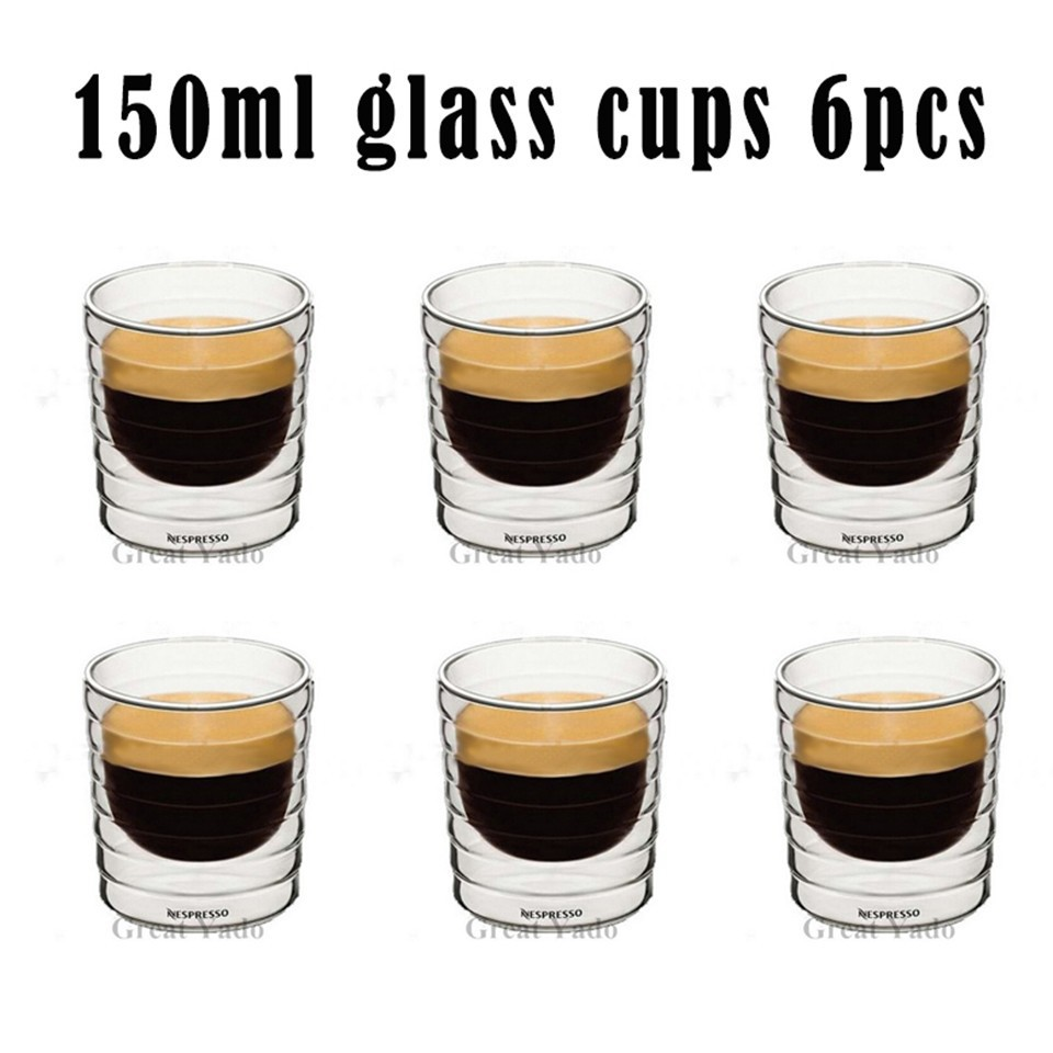 set of 6 double wall hand blown glass nespresso citiz glass espresso capsule thermal glass 150ml. Black Bedroom Furniture Sets. Home Design Ideas
