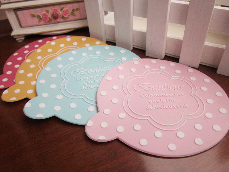 Coasters romantic polka dot jottings simple lace glass cup mats(China (Mainland))