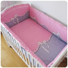 Promotion! 6PCS Baby Crib Cot Bedding Set Baby Bumper Sheet Dust Ruffle (bumper+sheet+pillow cover)