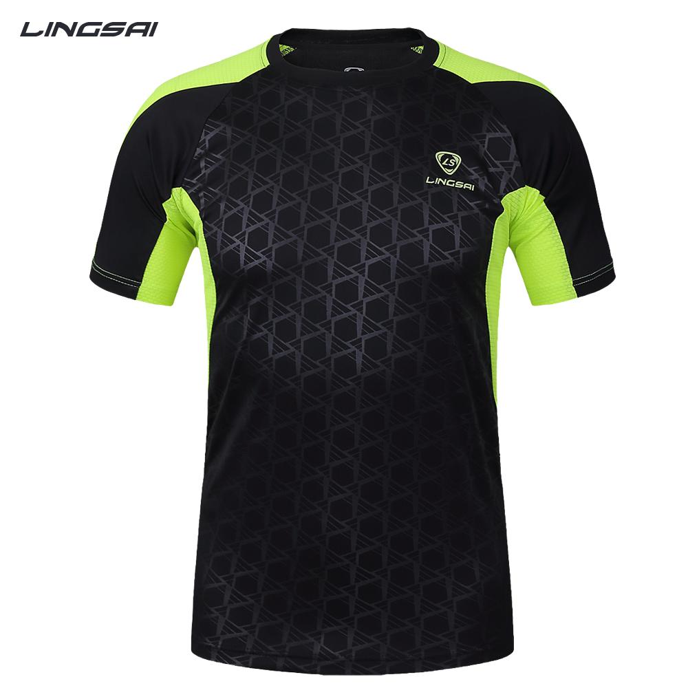 LINGSAI shirt men soccer jerseys 2017 New Mens t-shirt sportswear quick dry sport t shirt Men's Short Sleeve men t-shirt tshirt(China (Mainland))