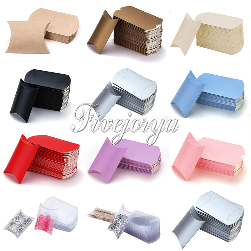 50pcs Pillow Candy Box PVC Paperboard 5-8 candies Capacity Wedding Decoration Sweets Gift Pouch Colorful(China (Mainland))