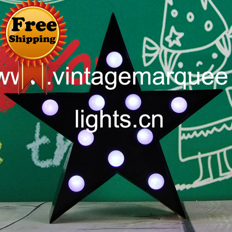 "channel letter 9 inch Vintage Marquee Lights, led channel letter signs lights "" Star "" FREE SHIPPING(China (Mainland))"