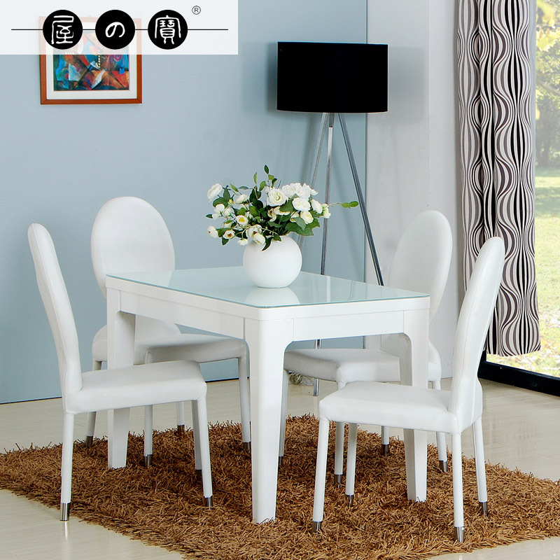 Treasure house white small apartment ikea dining table for for Small rectangle glass dining table