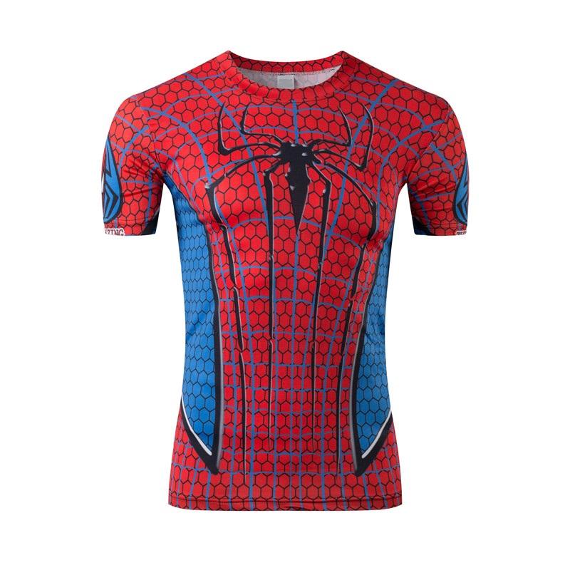 New spiderman, batman, superman, tight man short sleeve T-shirt Animation 3 d motion breathable quick dry high quality T-shirt(China (Mainland))