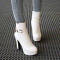Elegant And Comfort Rhinestone High Heel Shoes For Ladies Belt Buckle Knight Booties Black Chunky Heels
