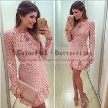 New Arrive Vestidos Women Fashion Casual Lace Dress 2015 O-Neck Sleeve Pink Evening Party Dresses Vestido de festa Brasil Trend(China (Mainland))