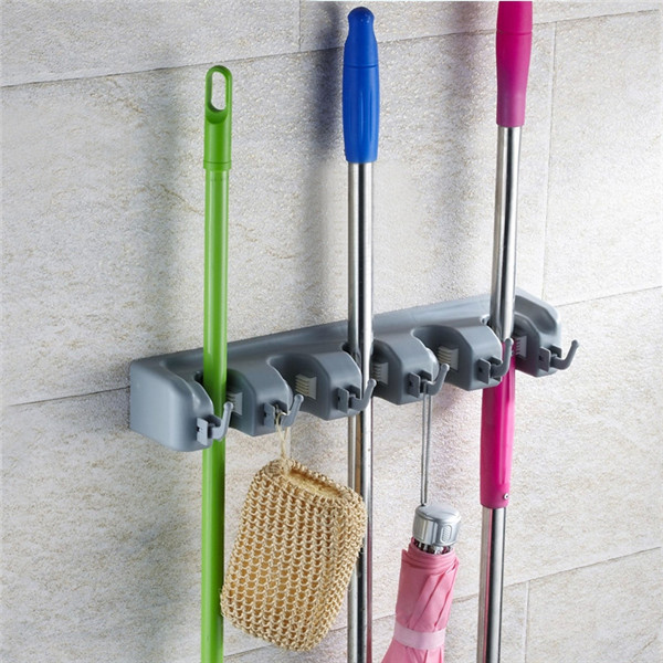 wall mounted mop brush broom organizer holder hanger. Black Bedroom Furniture Sets. Home Design Ideas