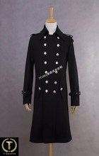 Men's catwalk models long section of the German World War II uniforms double-breasted wool coat Slim Jacket generals / S-XXL(China (Mainland))