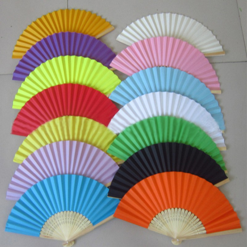Summer Chinese Hand Paper Fans Pocket Folding Bamboo Fan Wedding Party Favor(China (Mainland))