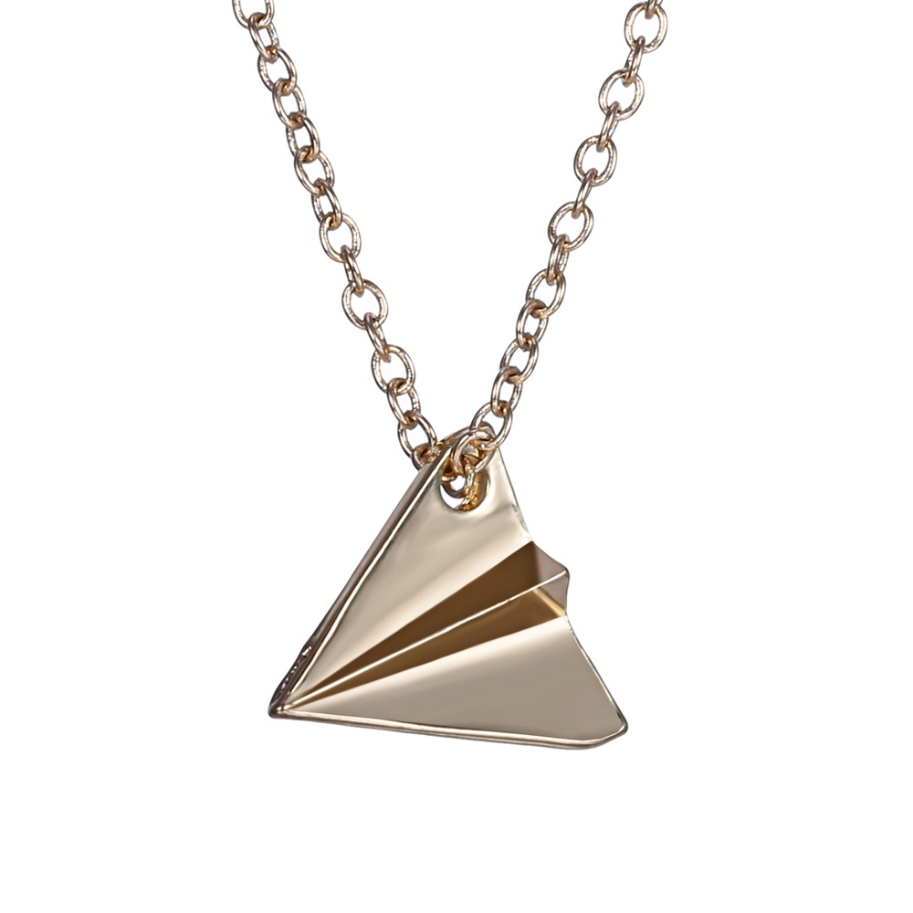 Creative Necklace Paper Airplane Zinc Alloy Brand Jewelry Silver/Gold Plated Simple Design for Women/Men Accessories(China (Mainland))