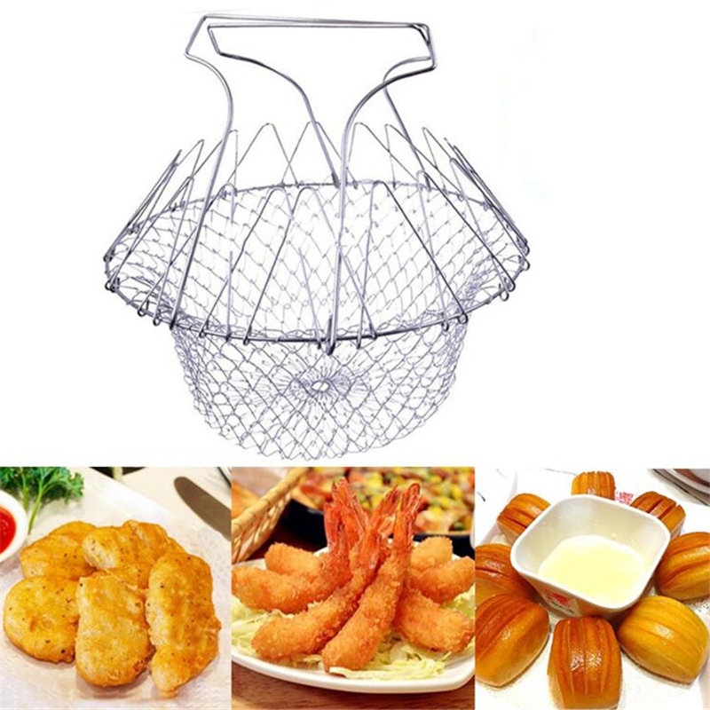 1 pc Food Frying Basket Stainless Steel Vegetable Foldable Steam Strain Fry French Chef Basket Magic Basket Mesh Strainer Net(China (Mainland))