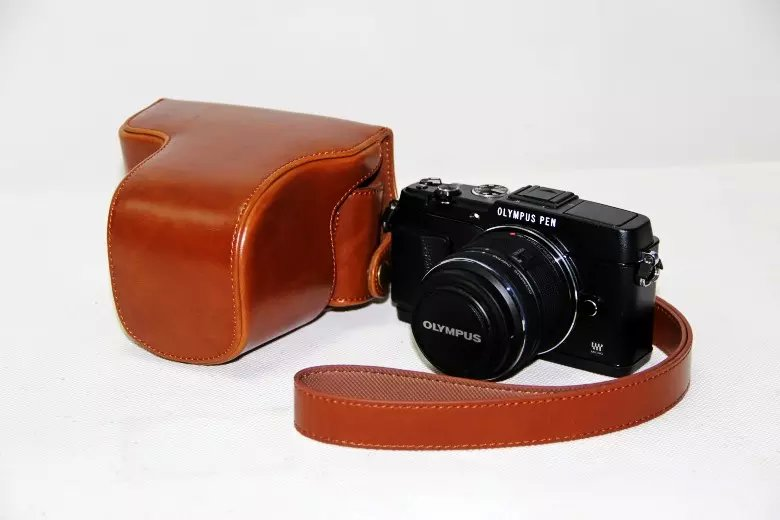 Fashion PU Leather Camera Bag Hard Camera case For Olympus EPL5 E-PL5 EPL6 E-PL6 EPM2 E-PM2 Camera case with Strap(China (Mainland))