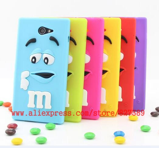 For Sony Xperia M2 Case Soft Rubber M&M'S Chocolate Mobile Phone Back Cases Cover For Sony Xperia M2 S50h(China (Mainland))