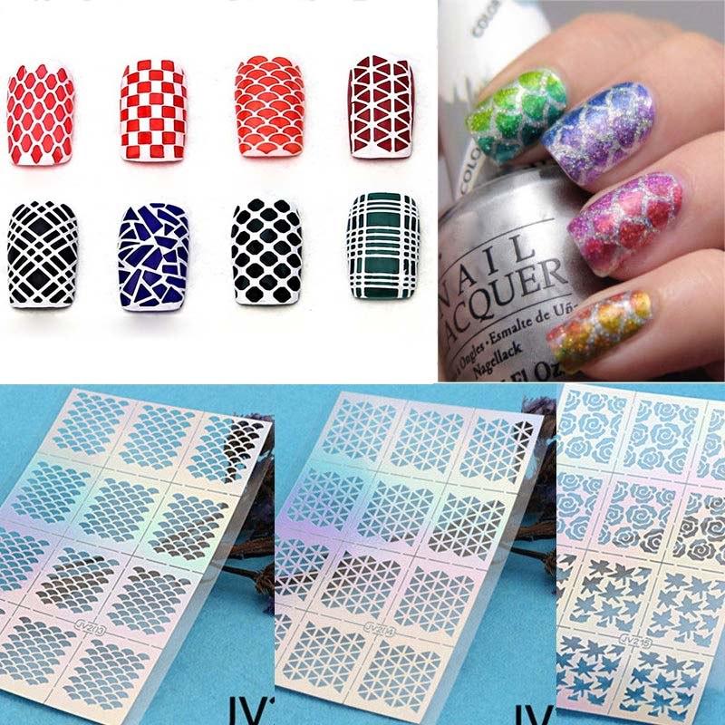12 Tips/Sheet Fish Scale Nail Vinyls Irregular Triangle Grid Pattern Easy Use Nail Art Tips Manicure Stencil Nail Sticker M01986<br><br>Aliexpress
