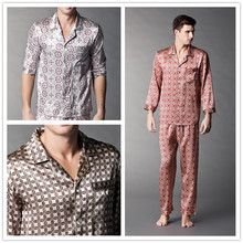 Male long sleeve length pants silk mulberry silk sleep set lounge(China (Mainland))