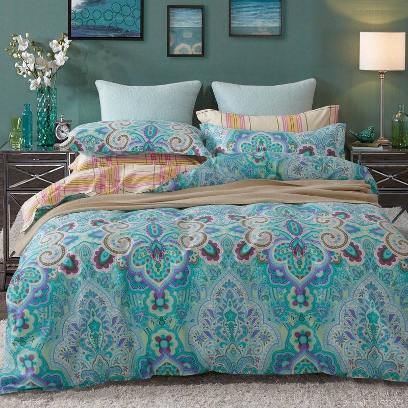 Discount luxury rustic vintage bedding blue duvet cover girl bedding sets quilt covers queen size sheets(China (Mainland))