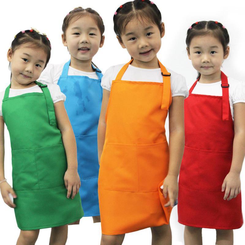1PC New Cute Kids Child Children Apron Cooking Baking Apron Pink Children's Aprons 5 COLOR Wholesale(China (Mainland))