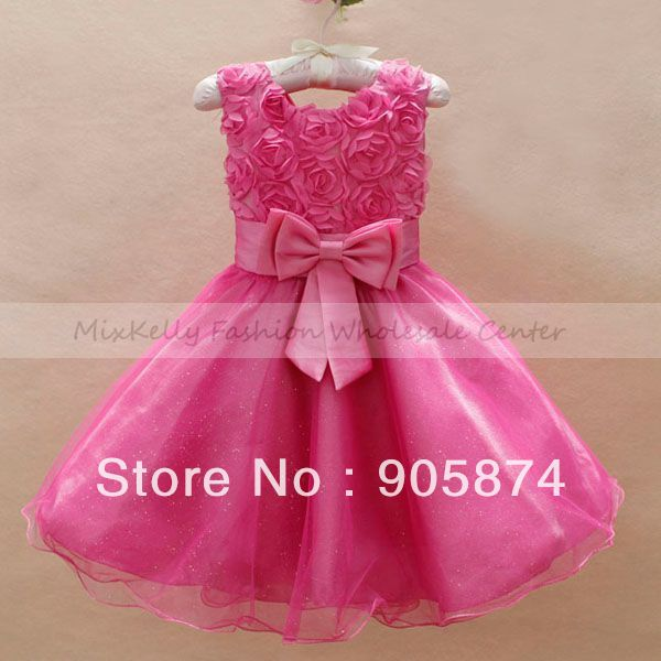 Bow Kids rose lace party dress baby clothes Baby girls Wedding Flower Bridesmaid Princess Dresses 6m-2 years Christmas tutu - MixKelly Children Clothes Center store