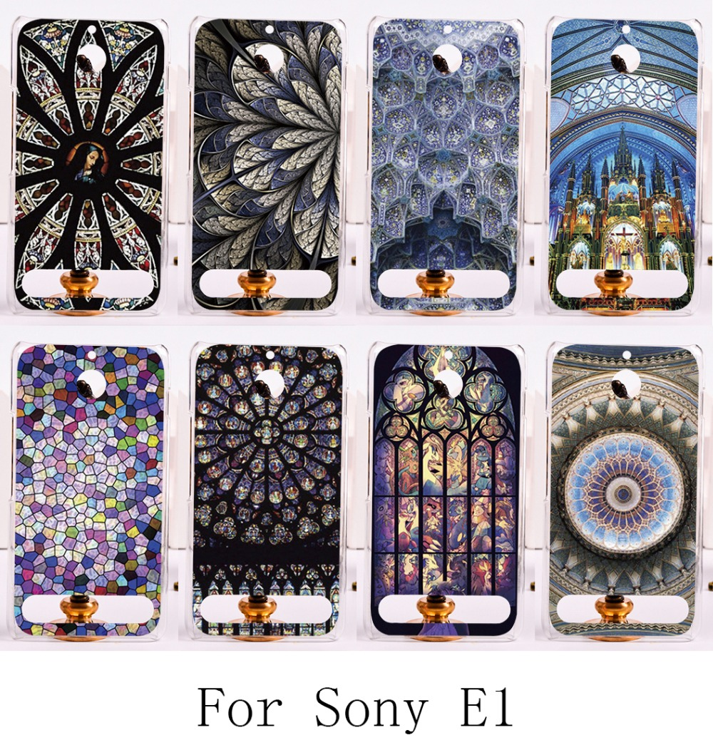 Phone Cases For Sony Xperia E1 D2005 D2014 D2105 Case Cover Amazing Geometric Colourful Church Roof Back Fashion Hard Skin(China (Mainland))