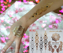 Jewlery style body art painting tattoo stickers glitter Metal gold silver temporary flash tattoo Disposable indians